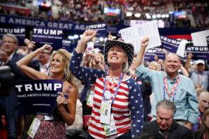 California delegates react during the second day session of the Republican National Convention in Cleveland, Tuesday, July 19, 2016. (AP Photo/Carolyn Kaster)